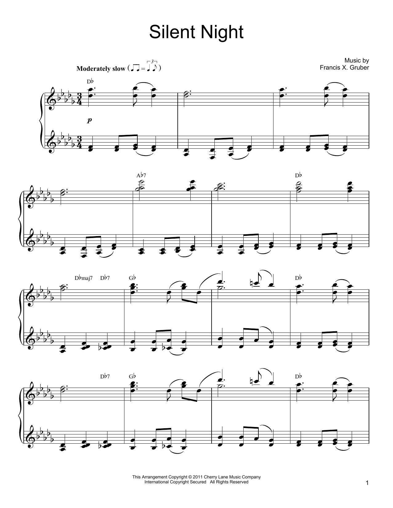 Partition piano Silent Night de Joseph Mohr - Piano Solo