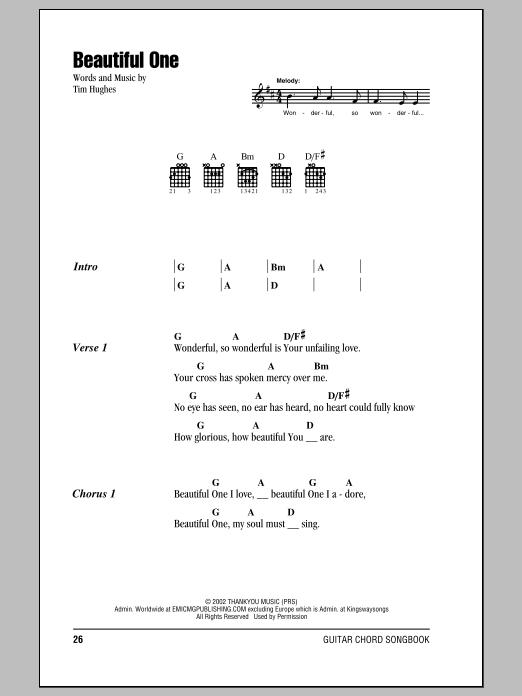 beautiful one i love chords pdf