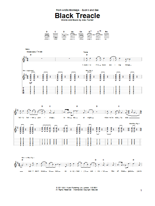 Black Treacle sheet music for guitar solo (tablature) by Alex Turner