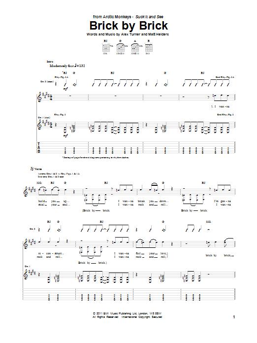 Tablature guitare Brick By Brick de Arctic Monkeys - Tablature Guitare