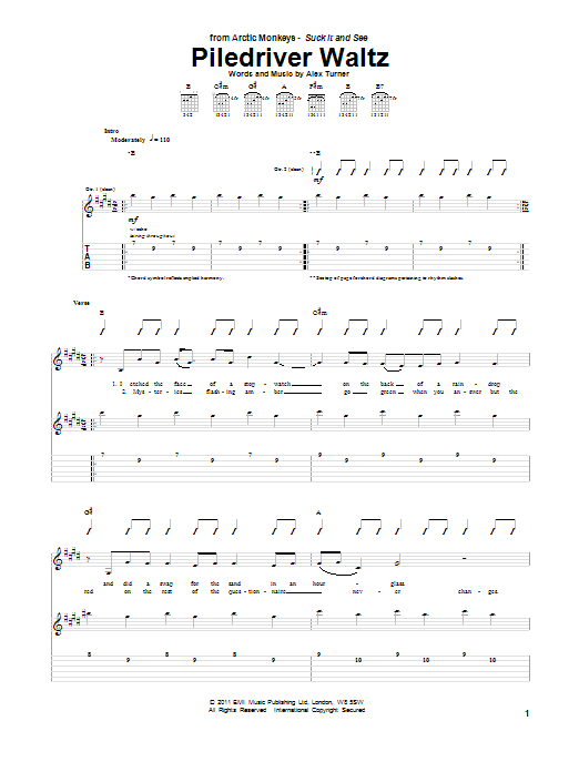 Tablature guitare Piledriver Waltz de Arctic Monkeys - Tablature Guitare