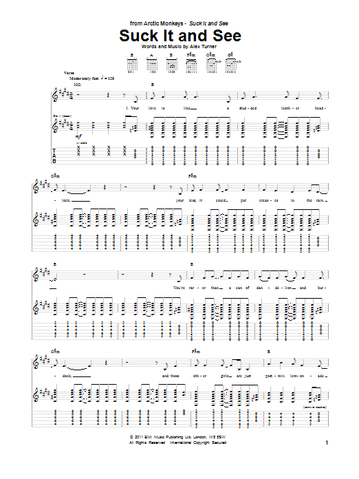 Suck It And See sheet music for guitar solo (tablature) by Alex Turner