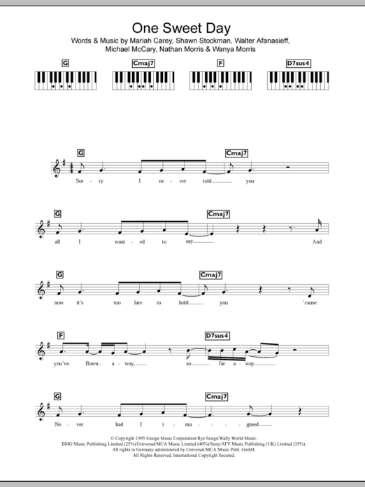 One Sweet Day sheet music for piano solo (chords, lyrics, melody) by Wanya Morris