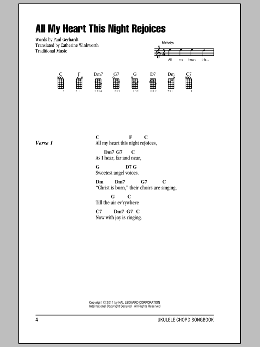 All My Heart This Night Rejoices sheet music for ukulele (chords) by Catherine Winkworth