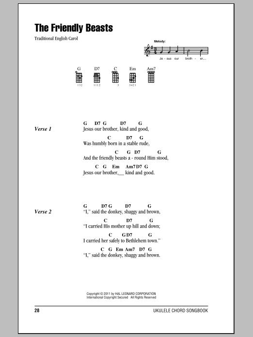 Tablature guitare The Friendly Beasts de Traditional English Carol - Ukulele (strumming patterns)