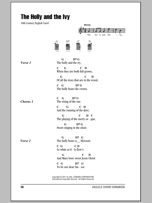 Tablature guitare The Holly And The Ivy de Traditional - Ukulele (strumming patterns)