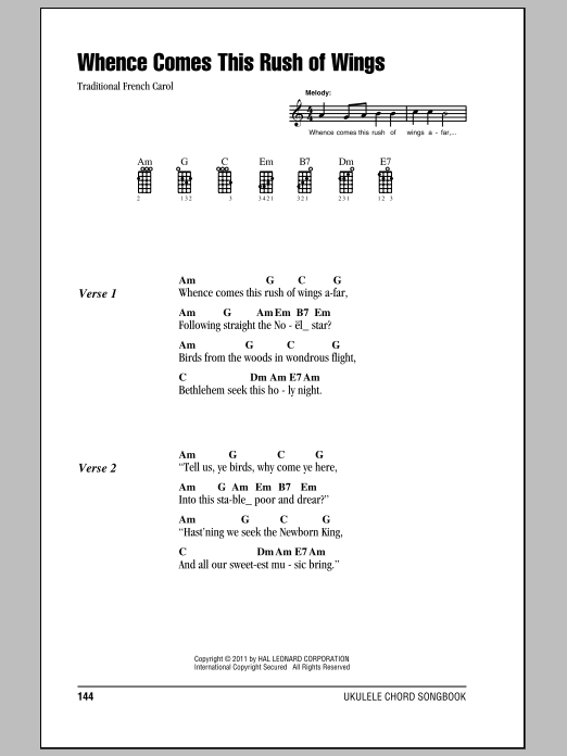 Tablature guitare Whence Comes This Rush Of Wings de Traditional - Ukulele (strumming patterns)