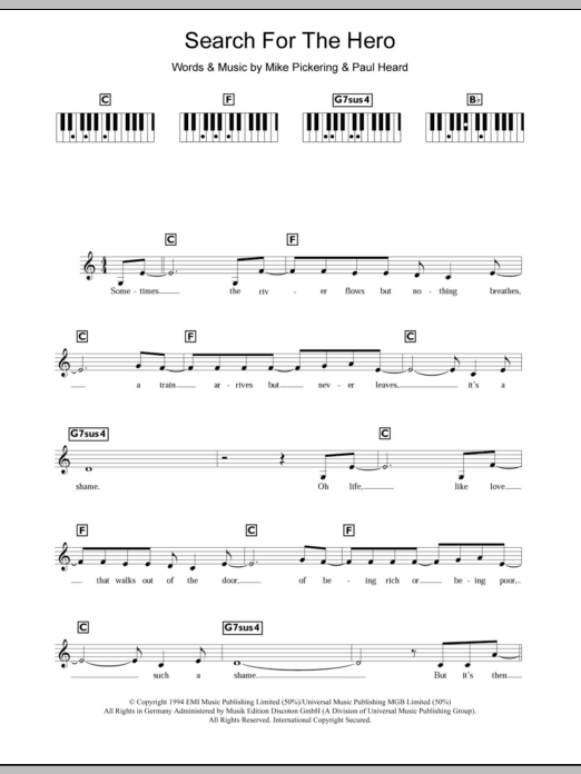 Search For The Hero sheet music for piano solo (chords, lyrics, melody) by Paul Heard