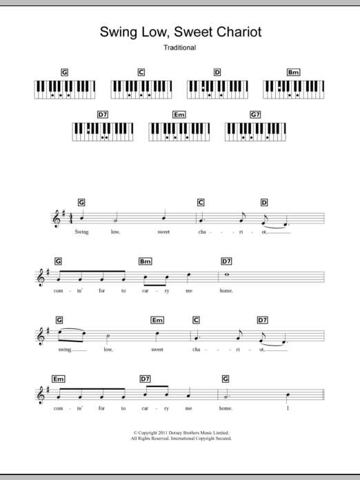 swing low sweet chariot chords pdf