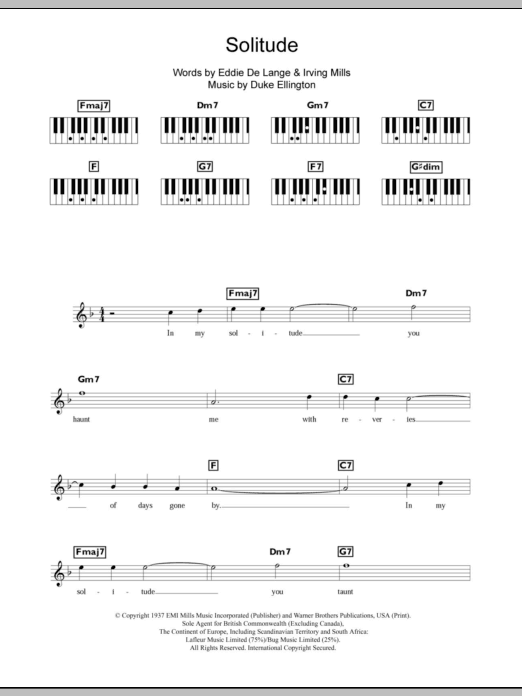 Solitude sheet music for piano solo (chords, lyrics, melody) by Irving Mills