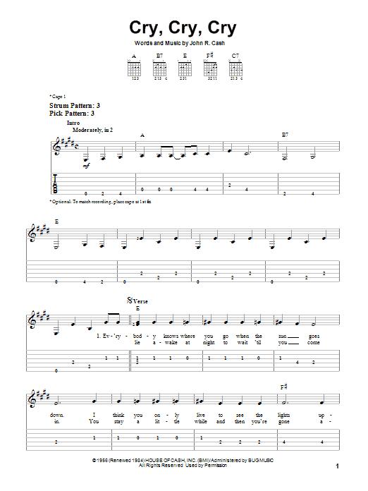Tablature guitare Cry, Cry, Cry de Johnny Cash - Tablature guitare facile