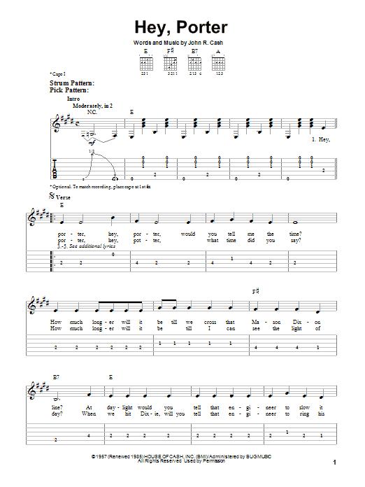 Tablature guitare Hey, Porter de Johnny Cash - Tablature guitare facile