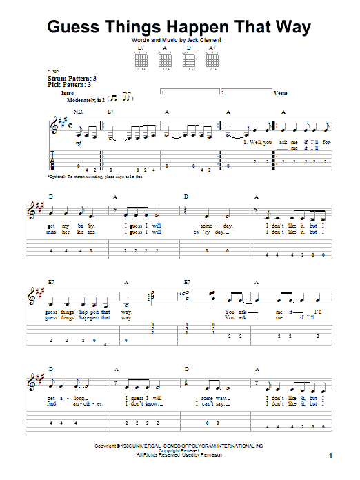Tablature guitare Guess Things Happen That Way de Johnny Cash - Tablature guitare facile