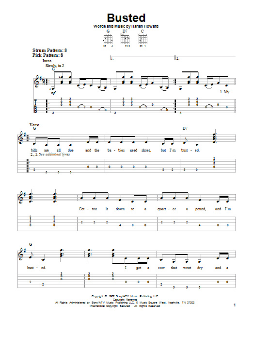 Tablature guitare Busted de Johnny Cash - Tablature guitare facile