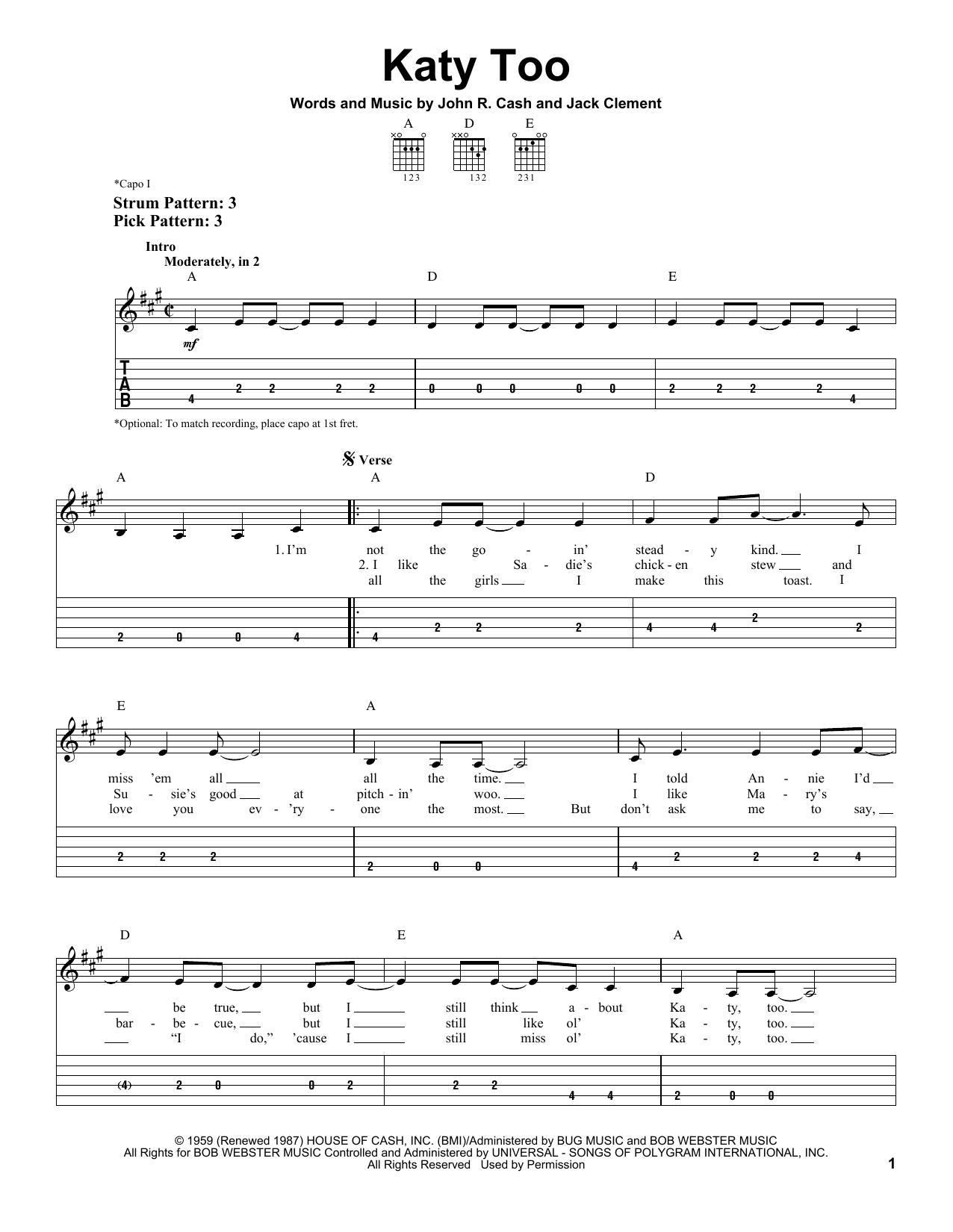 Tablature guitare Katy Too de Johnny Cash - Tablature guitare facile