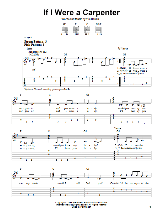 Tablature guitare If I Were A Carpenter de Johnny Cash - Tablature guitare facile