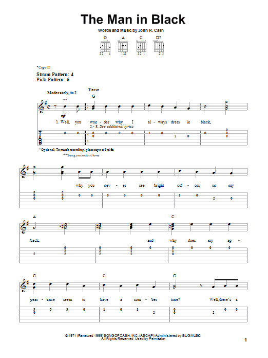 Tablature guitare The Man In Black de Johnny Cash - Tablature guitare facile