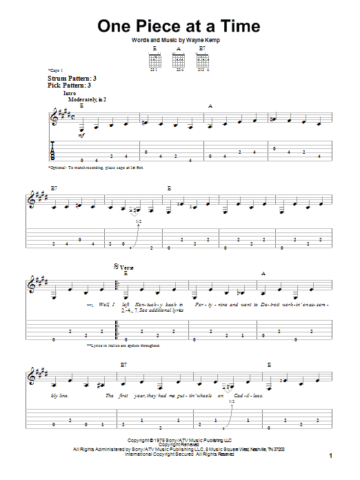 Tablature guitare One Piece At A Time de Johnny Cash - Tablature guitare facile