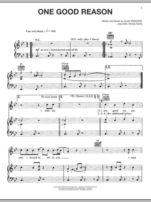Partition piano One Good Reason de Alan Parsons Project - Piano Voix Guitare (Mélodie Main Droite)
