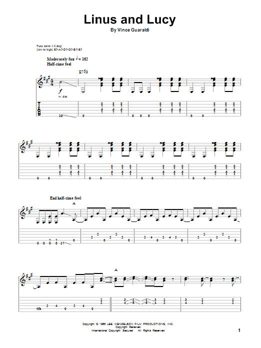 Tablature guitare Linus And Lucy de Vince Guaraldi - Tablature Guitare