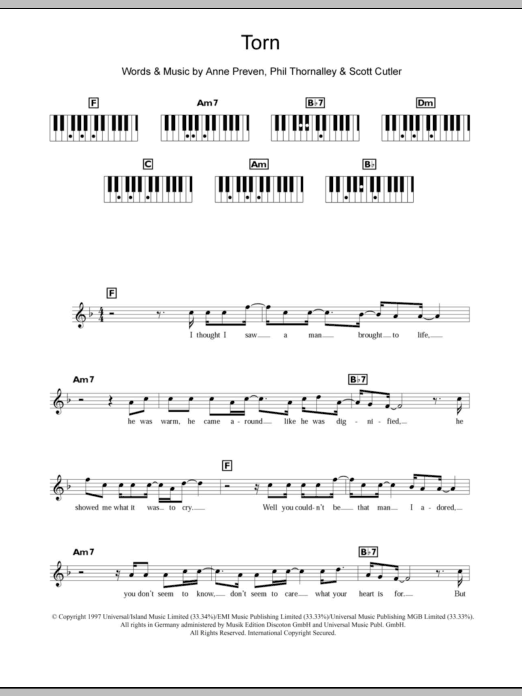 Torn sheet music for piano solo (chords, lyrics, melody) by Scott Cutler