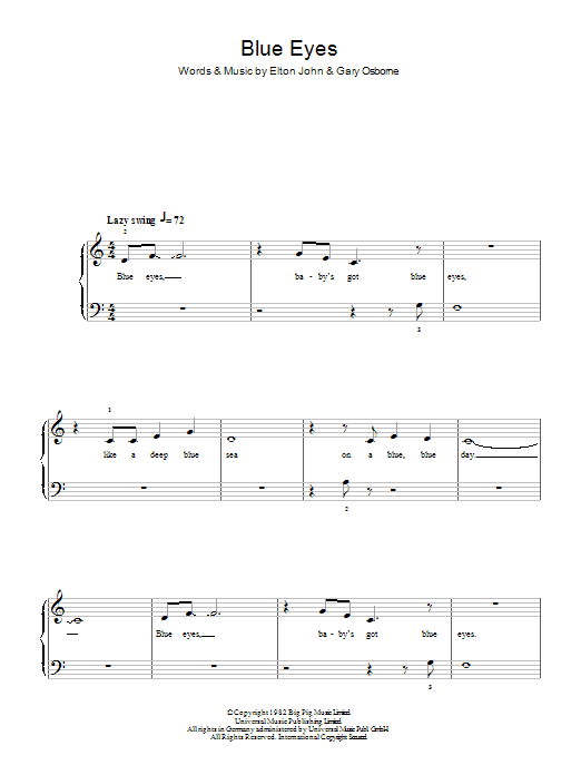 Blue Eyes sheet music for piano solo (chords) by Gary Osborne