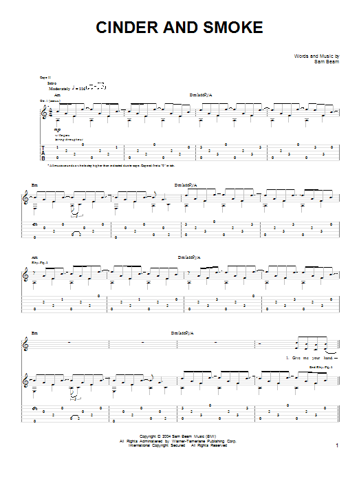 Tablature guitare Cinder And Smoke de Iron & Wine - Tablature guitare facile