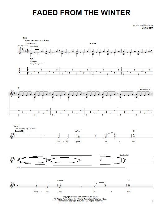 Tablature guitare Faded From The Winter de Iron & Wine - Tablature guitare facile