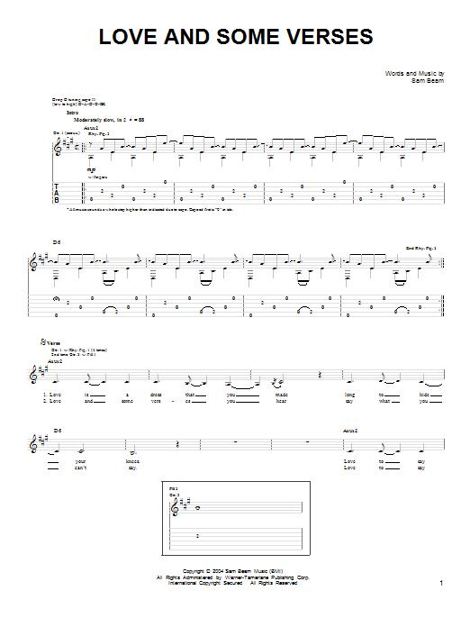 Tablature guitare Love And Some Verses de Iron & Wine - Tablature guitare facile