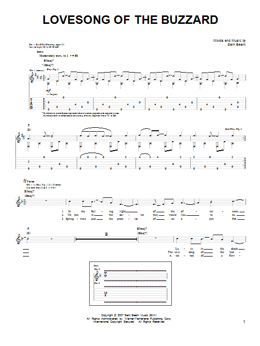 Tablature guitare Lovesong Of The Buzzard de Iron & Wine - Tablature guitare facile