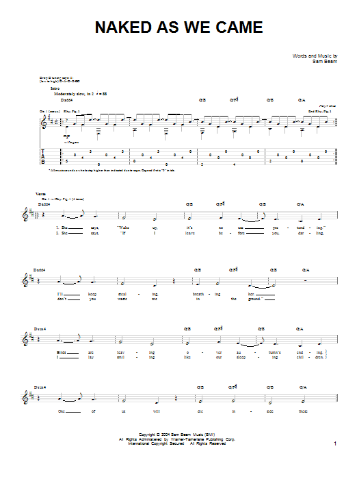 Tablature guitare Naked As We Came de Iron & Wine - Tablature guitare facile