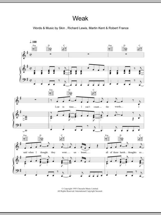 Weak sheet music for voice, piano or guitar by Skin