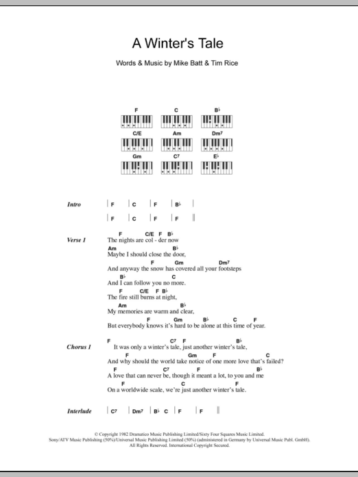A Winter's Tale sheet music for piano solo (chords, lyrics, melody) by Tim Rice