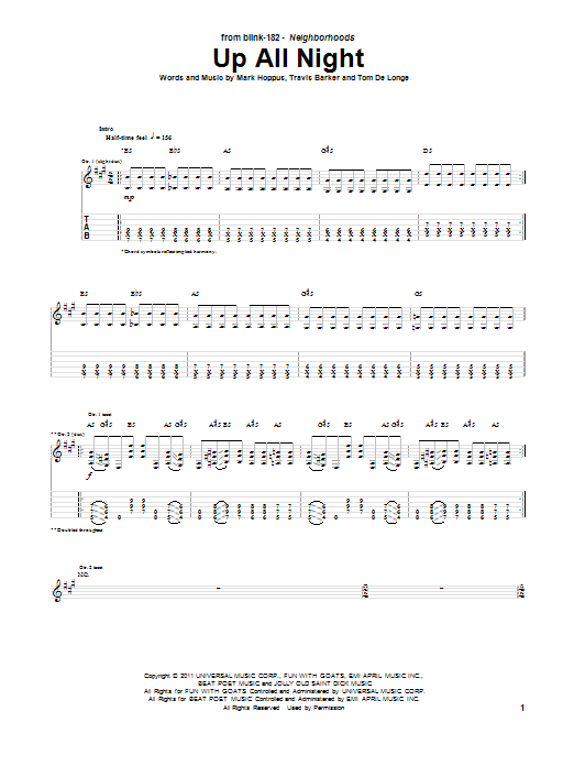 Tablature guitare Up All Night de Blink-182 - Tablature Guitare