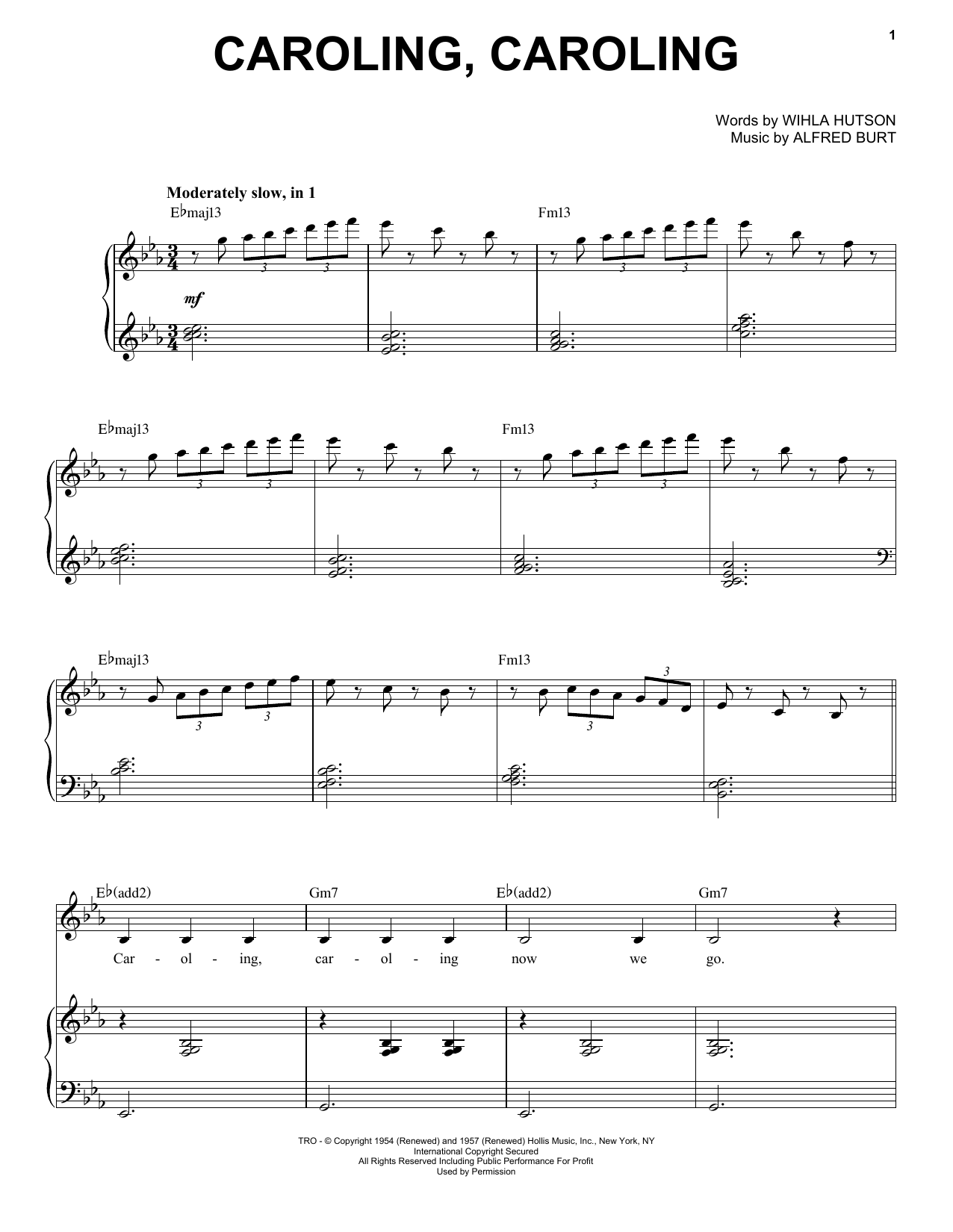 Caroling, Caroling sheet music for voice and piano by Alfred Burt