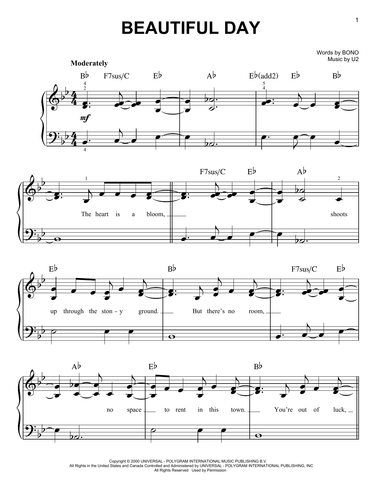 Partition piano Beautiful Day de U2 - Piano Facile