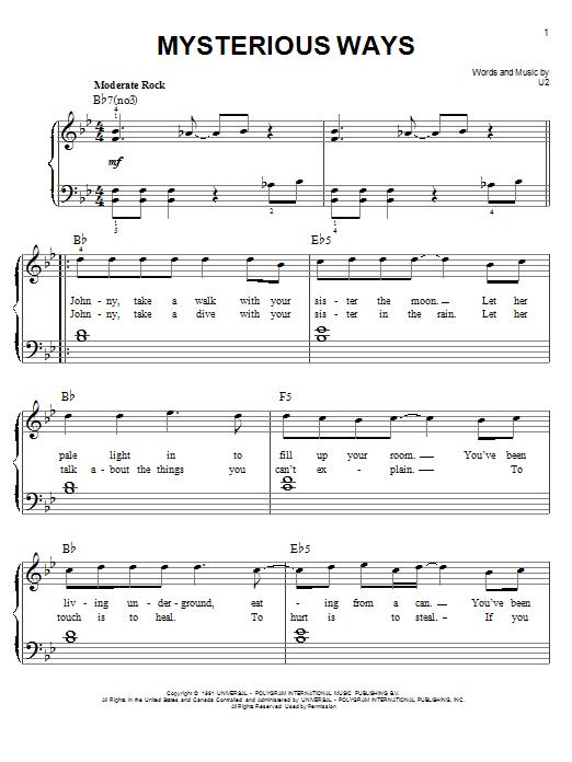 Partition piano Mysterious Ways de U2 - Piano Facile