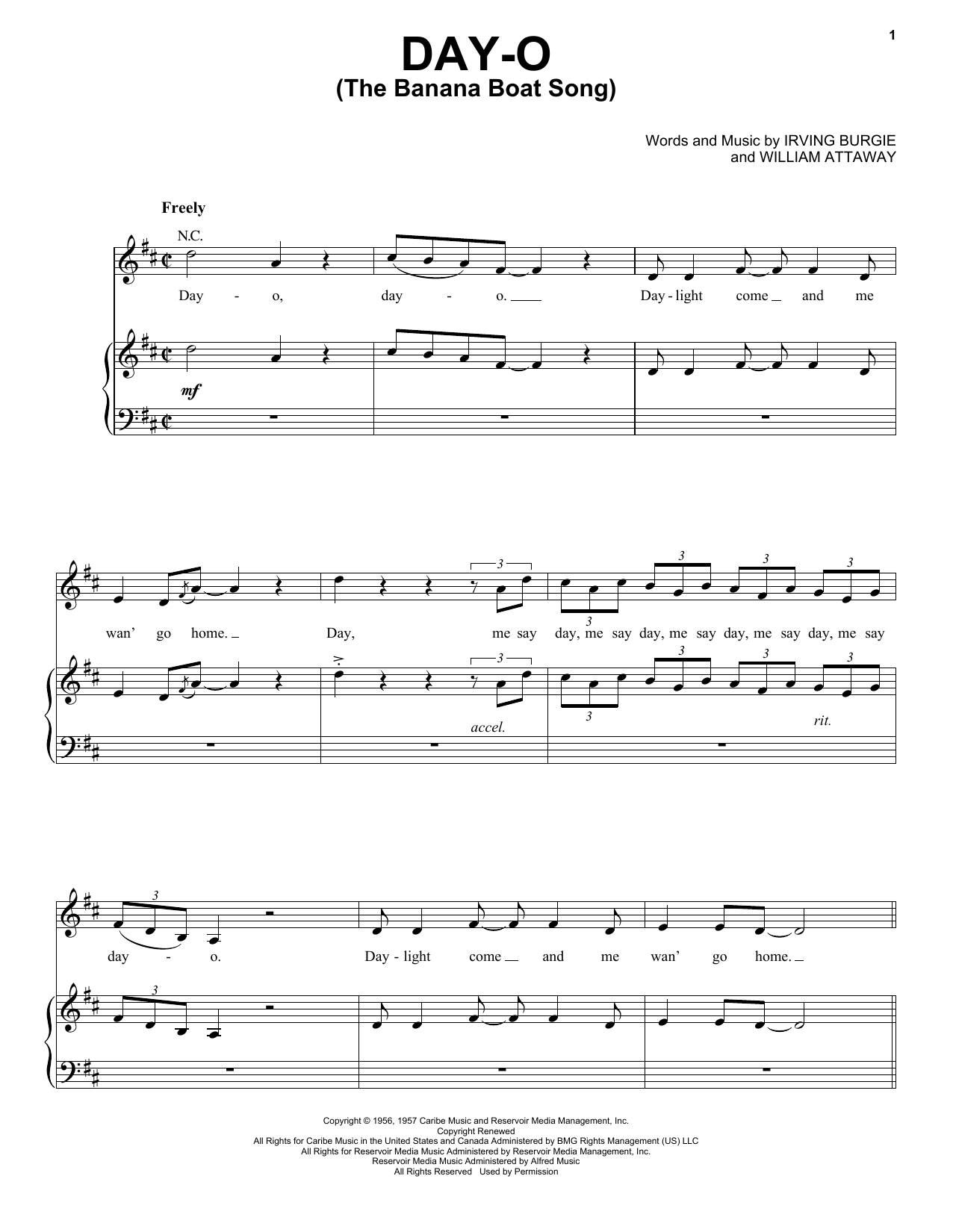 Day-O (The Banana Boat Song) sheet music for voice, piano or guitar by William Attaway