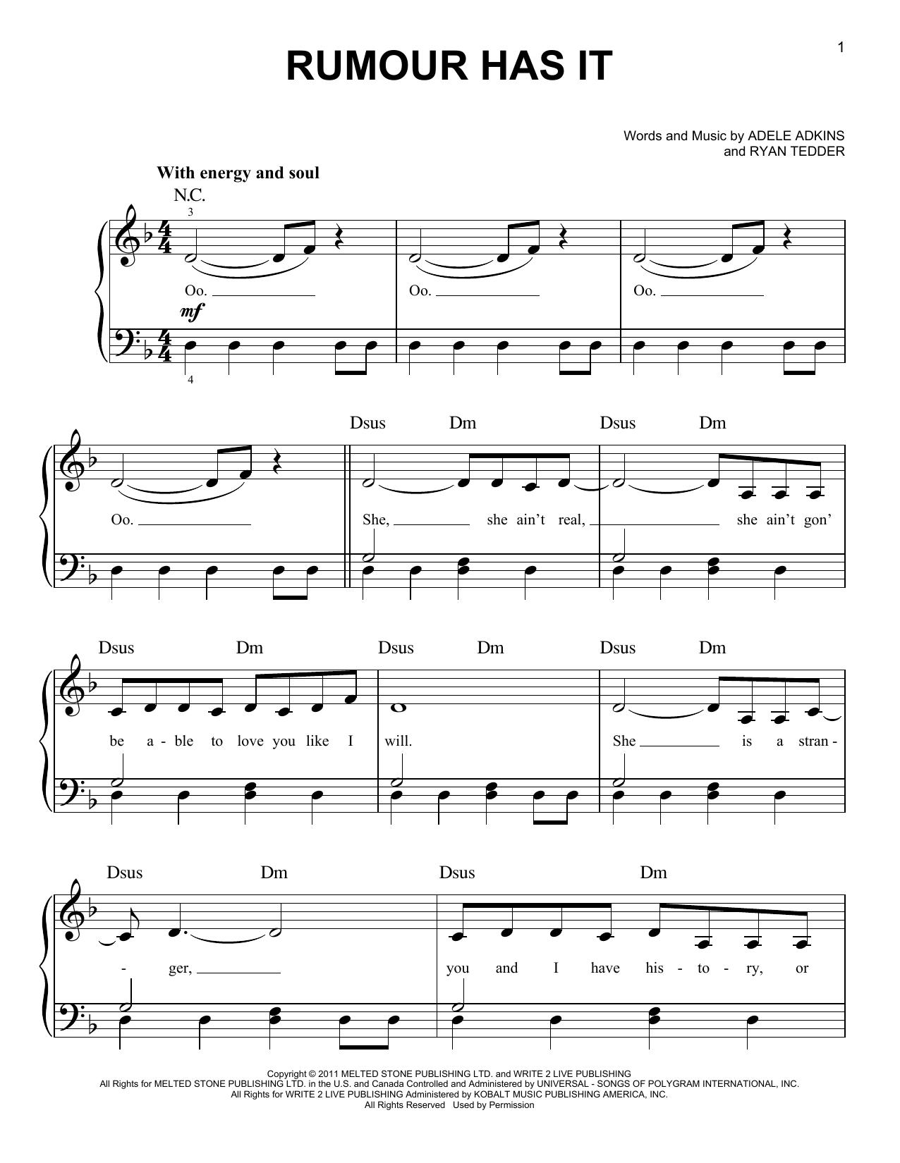 Partition piano Rumour Has It de Adele - Piano Facile
