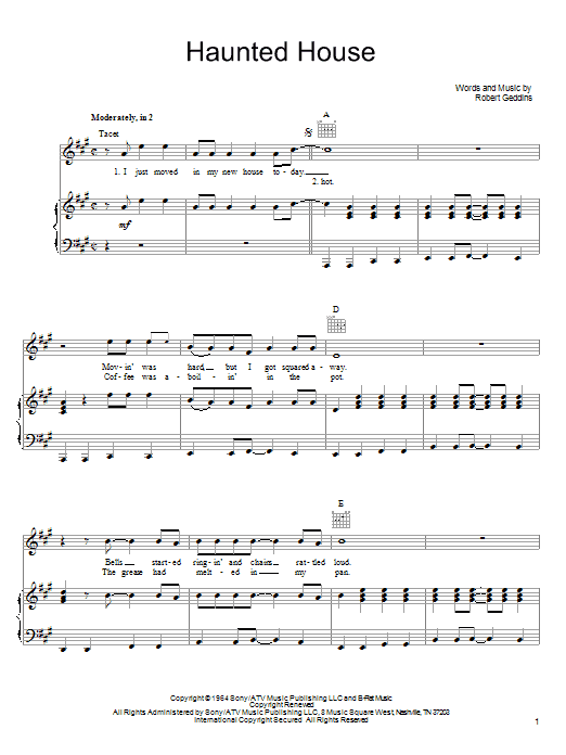 Partition piano Haunted House de Robert Geddins - Piano Voix Guitare (Mélodie Main Droite)