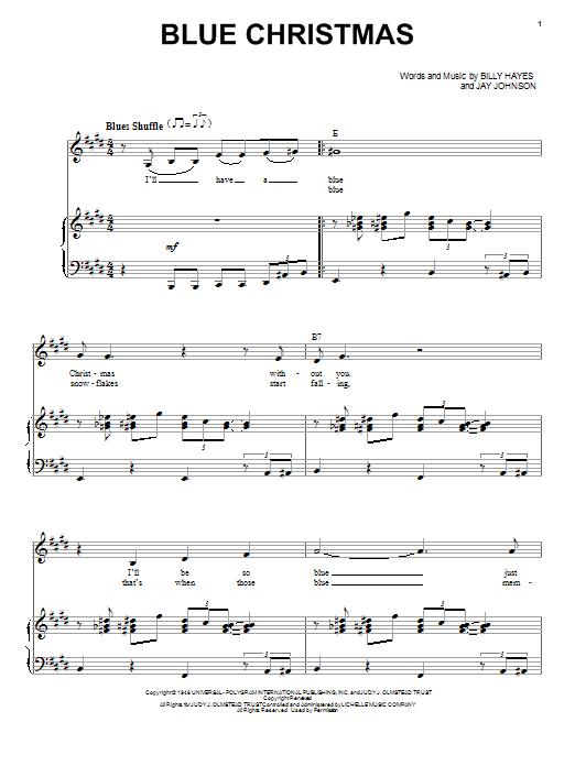 Partition piano Blue Christmas de Elvis Presley - Piano Voix