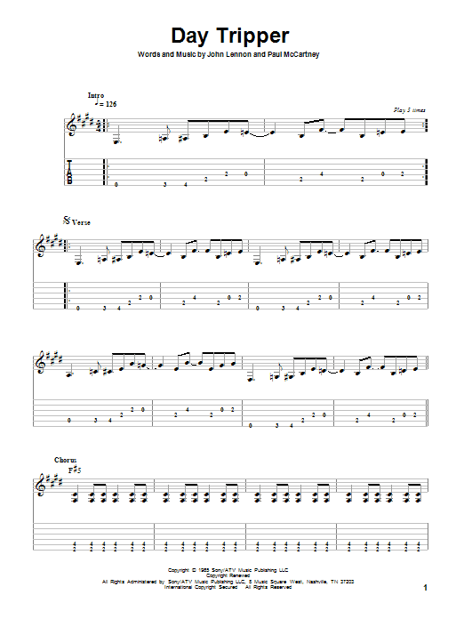 Day Tripper sheet music for guitar solo by Paul McCartney