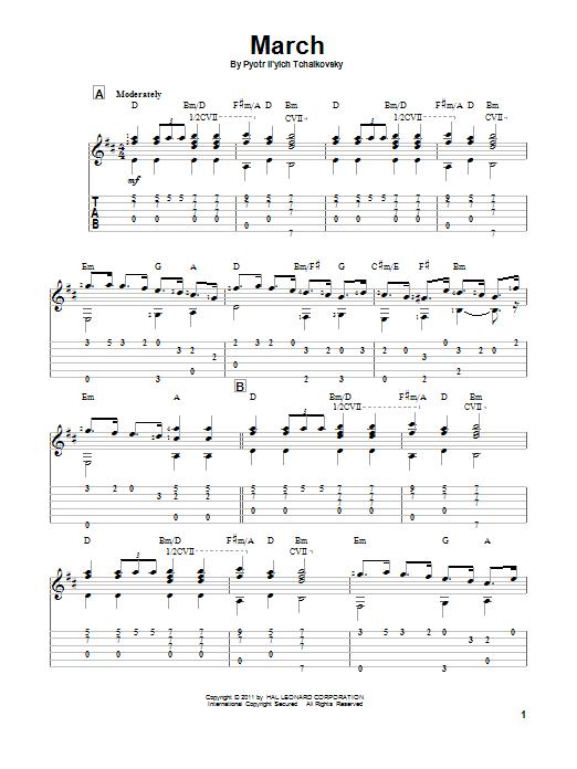 Tablature guitare March de Pyotr Il'yich Tchaikovsky - Tablature Guitare