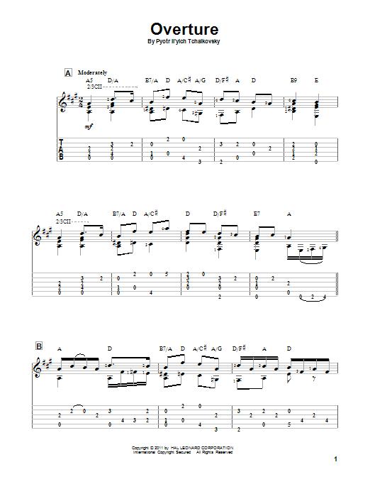 Tablature guitare Overture de Pyotr Il'yich Tchaikovsky - Tablature Guitare