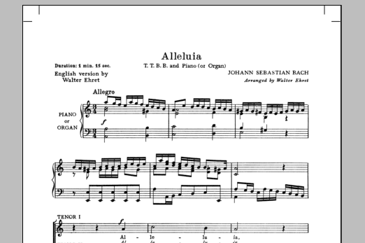 Partition chorale Alleluia (from Cantata 142) de Walter Ehret - TTBB