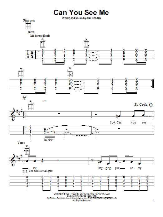 Tablature guitare Can You See Me de Jimi Hendrix - Ukulele