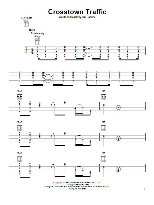 Tablature guitare Crosstown Traffic de Jimi Hendrix - Ukulele