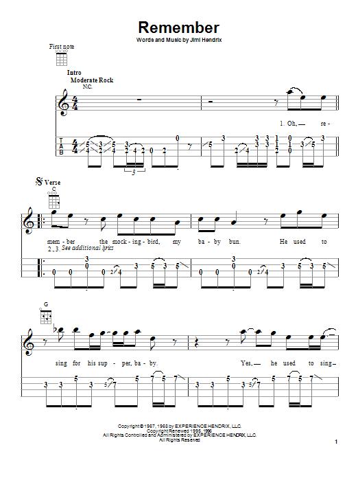 Tablature guitare Remember de Jimi Hendrix - Ukulele