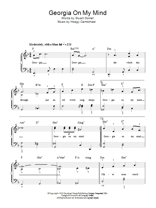 Georgia On My Mind sheet music for piano solo (chords) by Stuart Gorrell