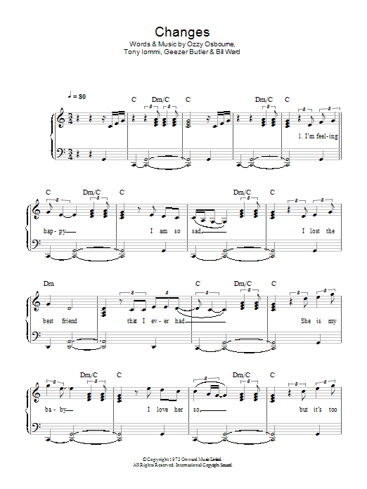 Changes sheet music for piano solo (chords) by Tony Iommi
